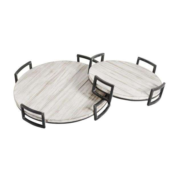 ROUND WOOD TRAYS GRAY S/2 Thumbnail