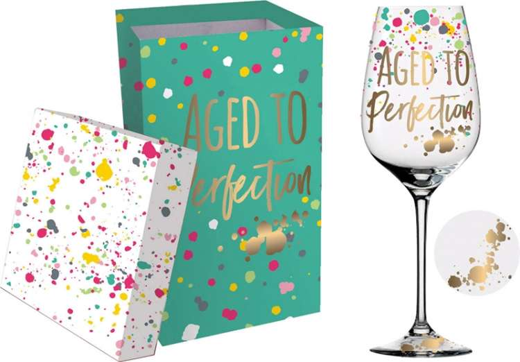 AGED TO PERFECTION BOXED WINE GLASS Thumbnail