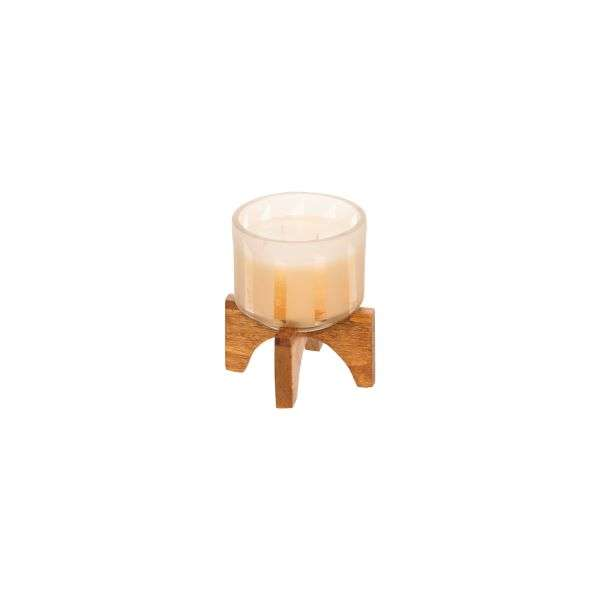 CANDLE W/WOOD STAND - GOLD Thumbnail