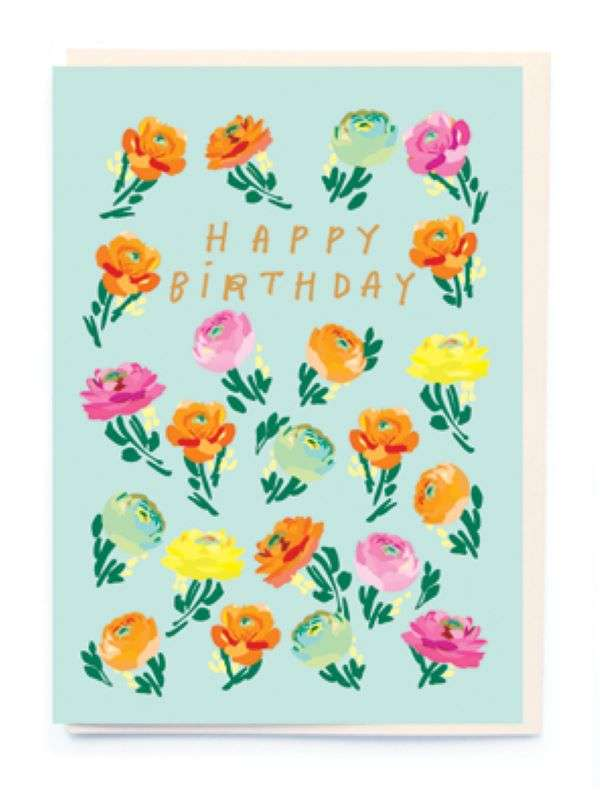 HAPPY BIRTHDAY FLOWERS CARD Thumbnail