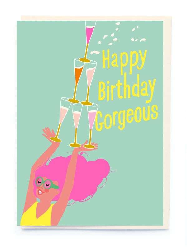 HAPPY BIRTHDAY GORGEOUS CHAMP GLASS CARD Thumbnail