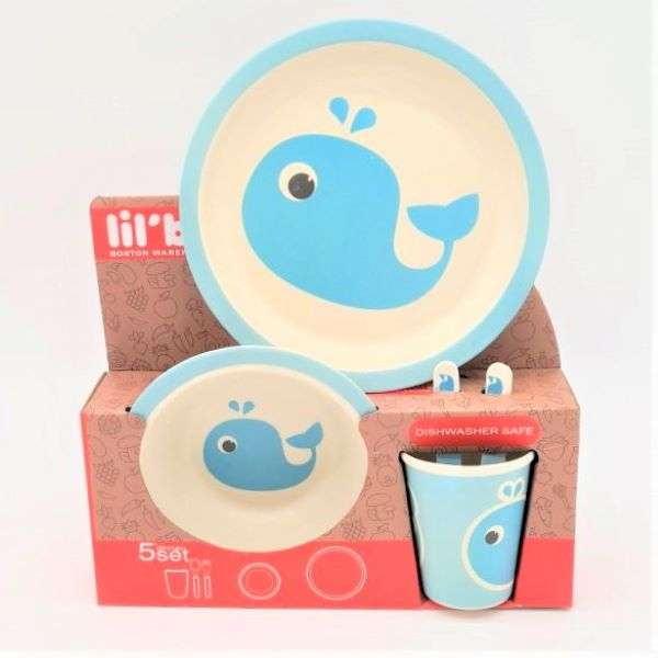 BLUE WHALE DINNERWARE SET - 5PC  Thumbnail