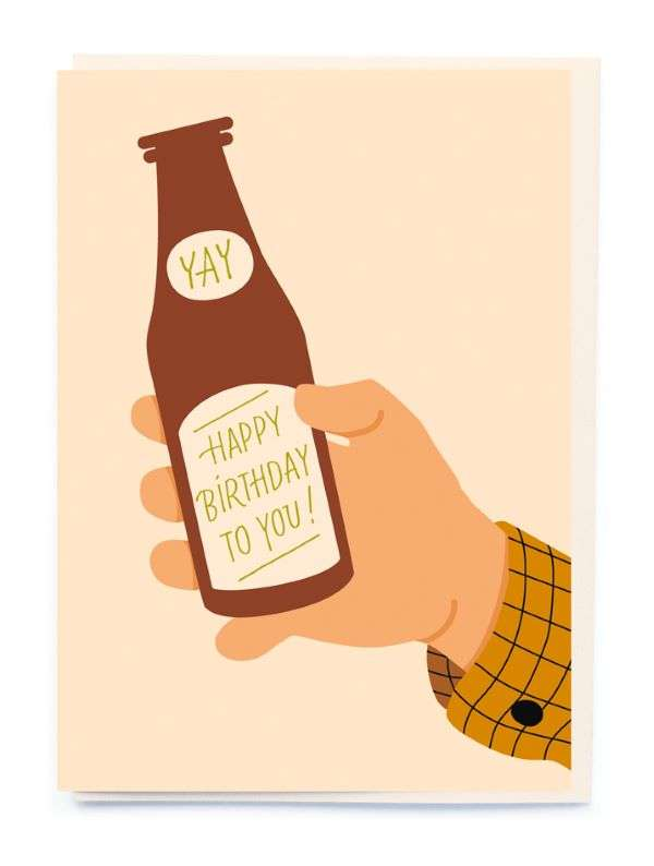 YAY HAPPY BIRTHDAY TO YOU BEER CARD Thumbnail