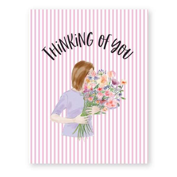 THINKING OF YOU (LADY WITH FLOWERS) CARD Thumbnail