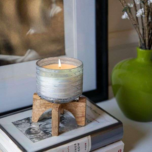 CANDLE W/WOOD STAND - GLASS  Thumbnail