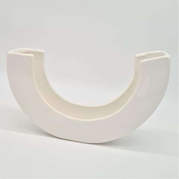 VASE WHITE CERAMIC HALF CIRCLE Thumbnail