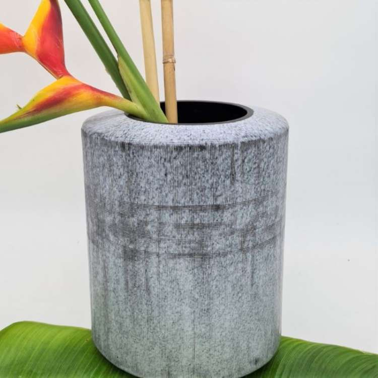 CERAMIC ROUND VASE BLACK & WHITE Thumbnail