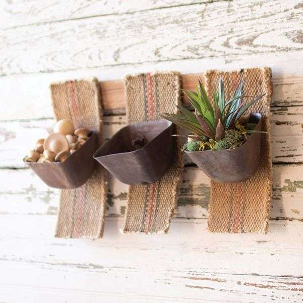 THREE REPURPOSED CONVEYOR BUCKET HANGING DECOR/PLANTER Thumbnail