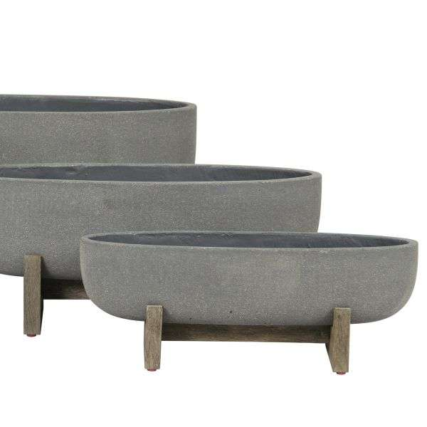 LARGE GREY OVAL PLANTERS WITH WOOD LEGS Thumbnail