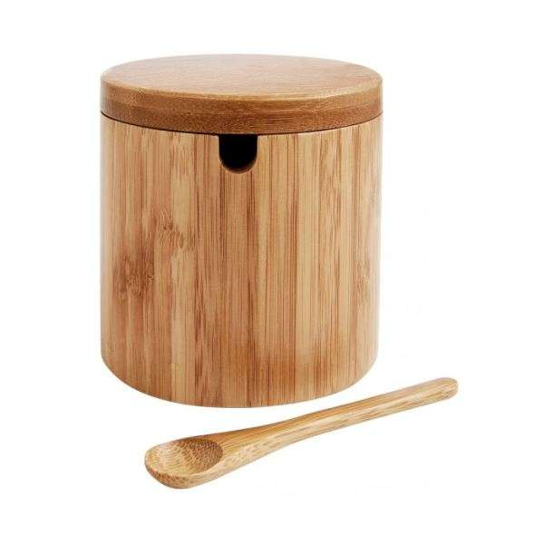 BAMBOO SALT BOX WITH SPOON Thumbnail